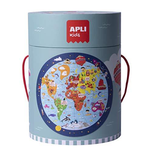 APLI Kids- Mapamundi Puzle Circular, 48 Piezas, Multicolor (18201)