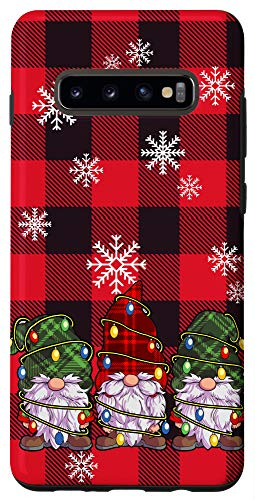 Galaxy S10+ Christmas Lights Phone Case Red Buffalo Plaid Three Gnomes Case