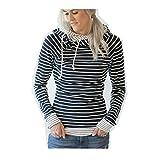Photo de Chemisier Femmes Rayé Sweat à Capuche Tops à Manches Longues T-Shirt Chic Rétro Élégant Sweat-Shirt Doux Pull Mode Pas Cher 2017 Automne Hiver Haut Original (M, Marine)