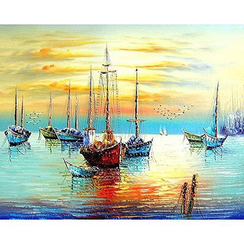 DIY Pintar por númerosLas Herramientas de Pintura de Barcos de Pesca Hacen Abstractos sobre Lienzo con murales 40x50cm Sin Marco