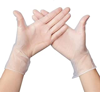Disposable Gloves Clear Vinyl Gloves Latex Free Powder-Free Glove Health Gloves for Kitchen Cooking Food Handling, 100PCS/...