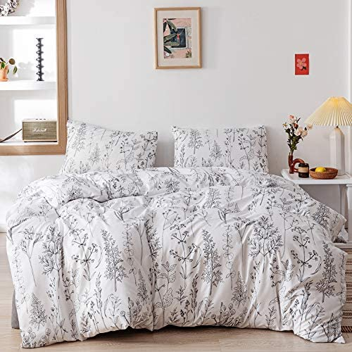 Janzaa 3pcs White Comforter Set Soft Microfiber Bedding Plant Flowers Printed Comforter with product image