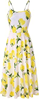 Women's Dresses Summer Floral Backless Spaghetti Strap Button Down Midi Dress with Pockets