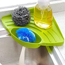 Inditradition Multipurpose Kitchen Sink Organizer Plastic Corner Tray (Large, Green)