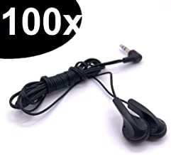 Bulk Economical Kids Earphones - 4 ft Cord with L Shaped 3.5 mm Headphone Plug (100 Pack, Black)