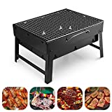 Ultra Zon® Outdoor Barbeque Charcoal BBQ Grill Oven Black Carbon Steel, Black