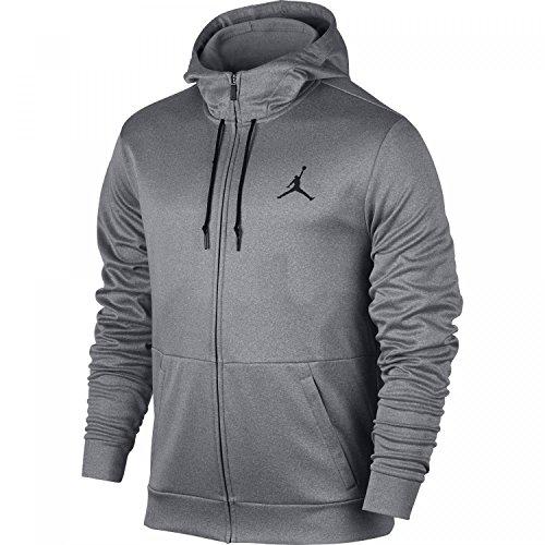 Nike Herren Jordan Therma 23 Alpha Hoodie Mit Durchgehendem Reißverschluss, Carbon Heather/Black, 2XL