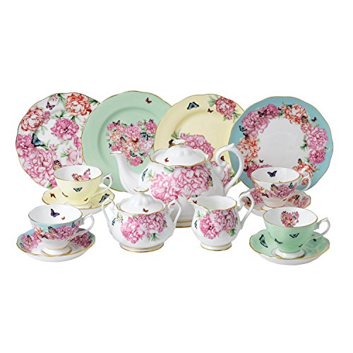 Royal Albert Miranda Kerr 15 Piece Tea Set Teacup, Saucer, Plate 20cm, Teapot, Sugar & Cream Multi, Bone China, 15pc