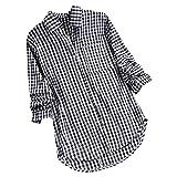 TUDUZ Blusa Mujer Manga Larga Camiseta De Cuadros Sueltos Ca