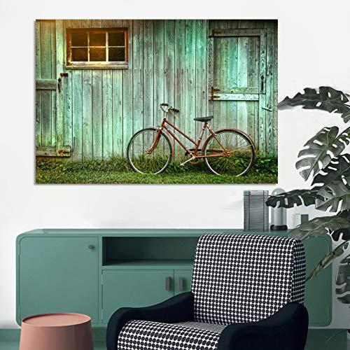 KWzEQ Landschaftsplakat und Leinwanddruck Wandkunst Holzhaus und Fahrraddekoration Bilder,Rahmenlose Malerei,75x112cm