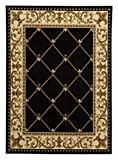 Antep Rugs Kashan King Collection Ephesus Geometric Area Rug, 96' W x 120' L, Black and Beige