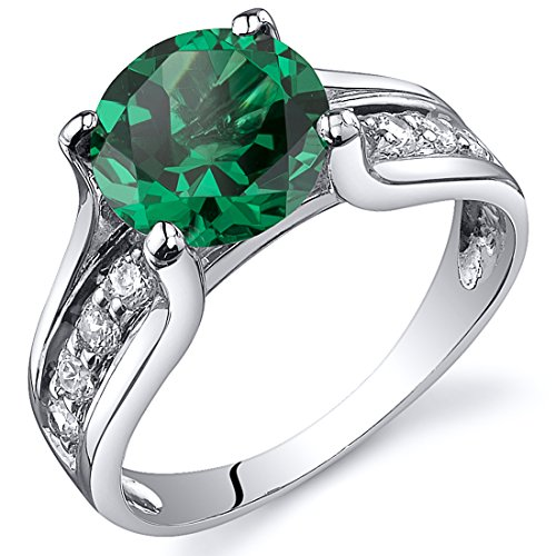 Peora Simulated Emerald Cathedral Ring in Sterling Silver, Solitaire Round Shape, 8mm, 1.75 Carats total, Comfort Fit Size 6 Comfort Fit Solitaire Setting