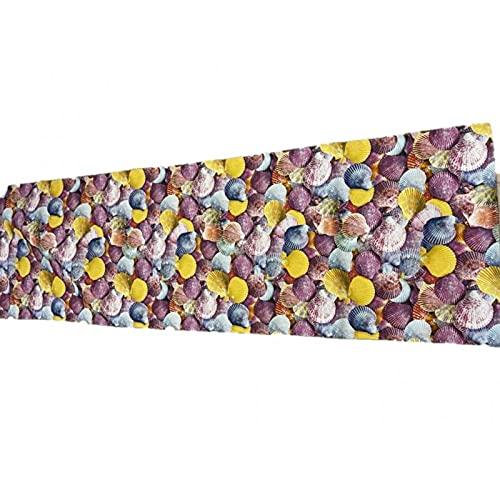 SUARDI Alfombra con impresión digital antideslizante, fabricada en Italia, art. Conchillas, fantasía, 58 x 290 cm