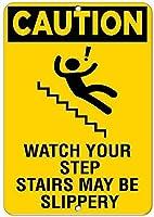 注意階段は滑りやすい危険サインかもしれませんアルミニウム金属サイン