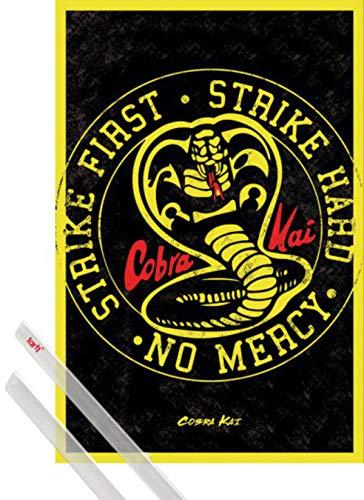 1art1 Cobra Kai Poster (91x61 cm) Emblem Inklusive EIN Paar Posterleisten, Transparent