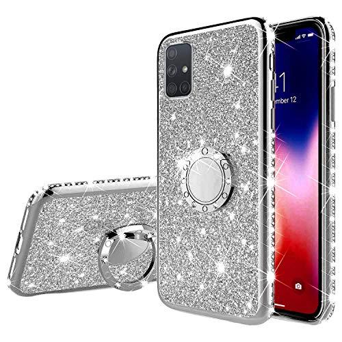 Herbests Kompatibel mit Samsung Galaxy A51 Glänzend Diamant Kristall Strass Glitzer TPU Handyhülle Handytasche Luxus Überzug Silikon Schutzhülle TPU Bumper Case mit Handy Fingerhalterung,Silber