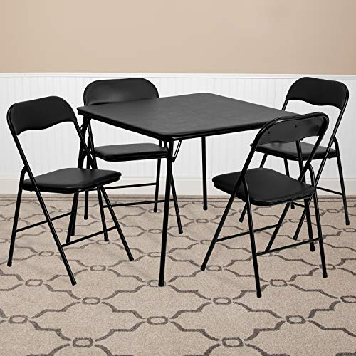 EMMA + OLIVER 5 Piece Black Folding Game Room Card Table and Chair Set