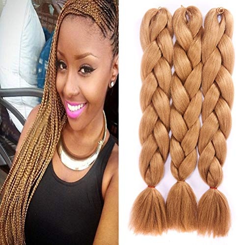 Extensions de cheveux de tressage synth¨¦tique de cheveux de tressage tresses jumbo brunes 24 pouces 5pcs / lot