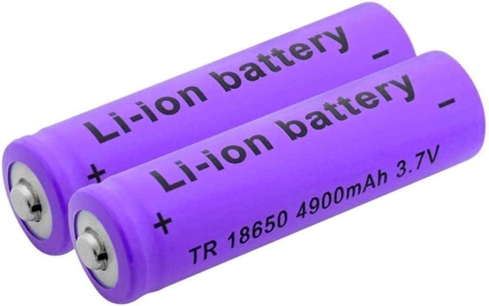 New 18650 Lithium Rechargeable Battery 3.7 v 4900mah Li Ion Battery for Flashlight Power Bank-2pcs