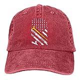 アメリカの国旗が付いている鉄工労働者の黄色いユニセックスの流行のジーンズ太陽帽子調節可能な野球帽