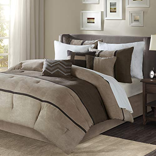 Madison Park Palisades King Size Bed Comforter Set Bed In A Bag - Brown, Taupe , Pieced Stripe – 7 Pieces Bedding Sets – Micro Suede Bedroom Comforters