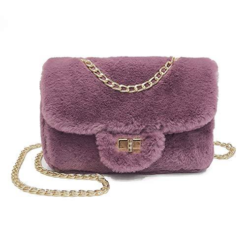 Classical Soft Envelope Faux Fur Bag Clutch Crossbody Purse with Chain Strap B Purple