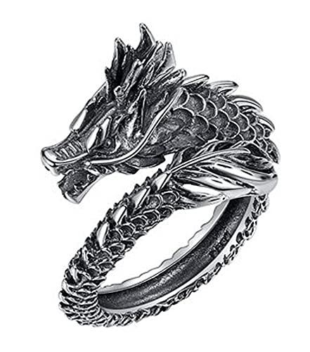 RXSHOUSH Anillo abierto de plata de ley 925 para hombres dominantes del dragón anillo de los hombres joyería novio hijo anillo