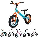 Bicicleta sin Pedales para Niños 2-6 años hasta 30 kg Ultraligera Mini Bici Bebés Infantil Andadores Bebé Equilibrio con Sillín y Manilar Regulable Ruedas bombeadas First bike (niños, azul/naranja)
