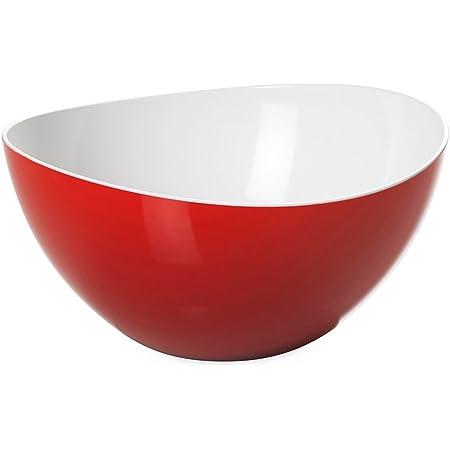 Omada Design Saladier, bol en plastique incassable bicolore, fabriqué en Italie, ligne Trendy, diamètre 26 cm, capacité 3,5 litres, va au lave-vaisselle, Blanc et Rouge