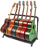 IDWOI Soporte Guitarra Suelo, Plegable Soporte de Suelo Universal para Guitarras múltiples con 7 Espacios para Almacenamiento de Pantalla, Accesorios de Guitarra (Color : Black, Size : 100X40X65CM)