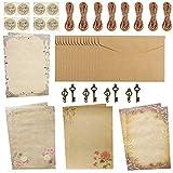 Set di Buste e Carta Stazionaria Vintage CHEPL 4 Set Fogli Carta di Lettere Vintage Set di Cancelleria Vintage per Scrivere,Stampare,Diploma,Matrimonio Invito Certificato