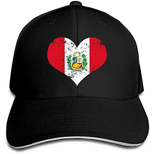 Dale Hill Gorra de béisbol Unisex Gorra de algodón con Bandera del corazón de Perú Gorras Planas Ajustables para fanáticos del Deporte Negro