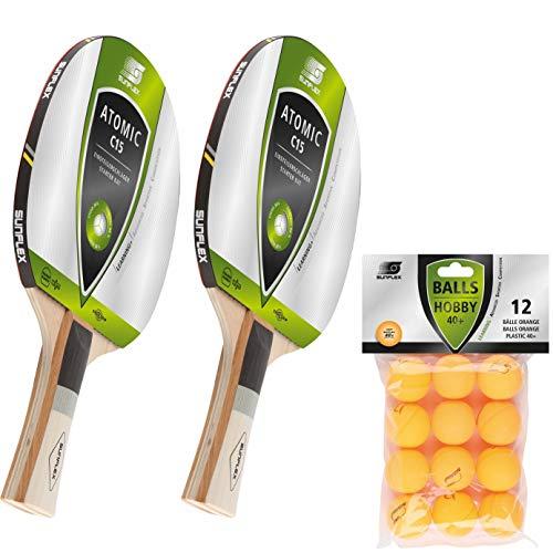 Sunflex Tischtennis Set | 2 x Atomic C15 Tischtennisschläger + 12 x Training Tischtennisbälle orange