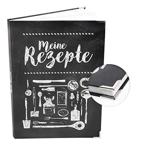 Logbuch-Verlag großes XXL Rezeptbuch MEINE REZEPTE DIN A4 schwarz weiß Tafelkreide Stil - leeres DIY Kochbuch zum selbst Gestalten für eigene Kochrezepte