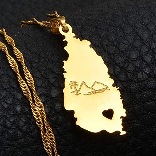 Zaaqio Collar con Colgante de Mapa de Santa Lucía para Mujeres y niñas, joyería de Color Dorado, Collares con Colgante de Ciudades de Santa Lucía, joyería