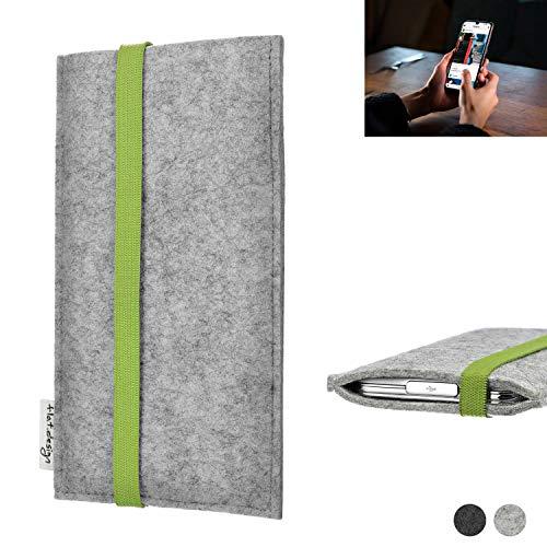 flat.design Handy Hülle Coimbra für Wiko View 3 Pro maßgefertigte Handytasche Filz Tasche fair grün hellgrau