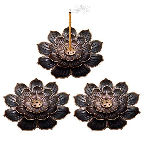 OJYUDD 3 Pack Brass Incense Holder,Lotus Sticks Incense Burner,Detachable Incense Ash Catcher for...