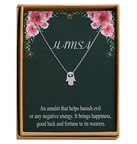 Hamsa Hand Necklace S925 Sterling Silver Dainty Evil Eye Pendant Necklace for Women