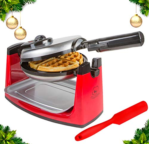 Rotating Belgian Waffle Maker - Classic Red & Stainless Steel - Adjustable Temp Control & 180 Degree Flip Rotation – Includes User Guide, Gourmet Waffle Recipes, and FREE Bonus