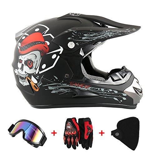Casco da moto, motocross, cross, offroad, enduro, sport, con guanti, passamontagna e occhiali, 58-59 cm