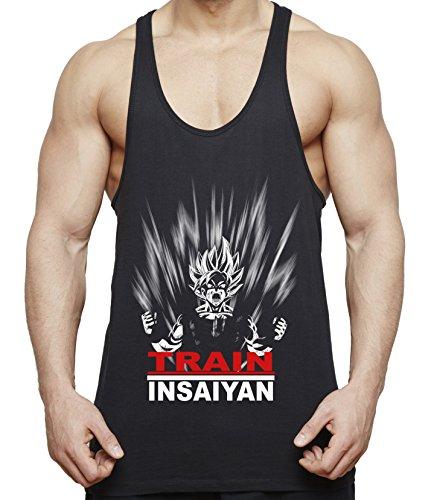 WhyKiki Train Insaiyan Son Goku Camiseta de Tirantes para Hombre Dragon Master Ball Vegeta Turtle Roshi, Farbe2:Negro;Größe2:L
