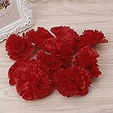 Wiffe Künstliche Nelken, Blütenköpfe für Braut, Brautjungfer, Hochzeit, Party, Dekoration, Rot, 10 Stück