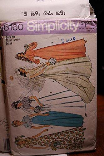 Simplicity Pattern 6160 Sz 10 Bust 32 1/2 Wedding Dress With Detachable Train UNCUT FF