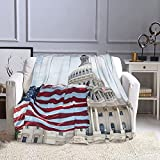 American Flag in Washington Dc Flannel Blankets