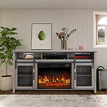 ENSTVER TV Stand for TVs up to 65  with Electric Fireplace Included,Media Storage Television Console for Living Room  Gray