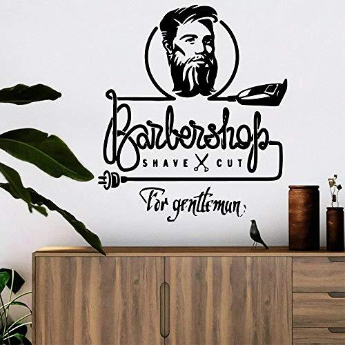 HGFDHG Arte Barbería Pared Pegatina Caballero Peinado Tienda diseño Vinilo Tienda Pared calcomanía Ventana hogar decoración Interior