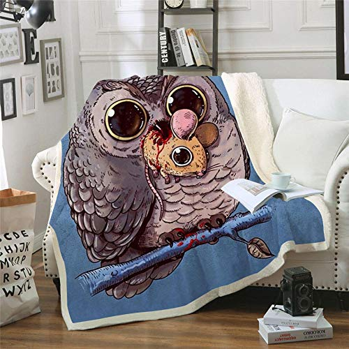 WZSZSA Sherpa 3D Printed Blanket Brown Animal Owl Fleece Throw Blanket Soft Warm 100% Microfiber Flannel Blanket for Couch, Camping and Travel Blanket 60x80inch