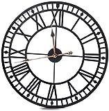 Home Clock 60 cm Grande Rotondo Nero Metallo Nero Orologio da Parete Nero Grande Orologio Giardino Orologio da Parete all'aperto Orologio Antico Vintage Stile retrò Numeri Romani Excellent