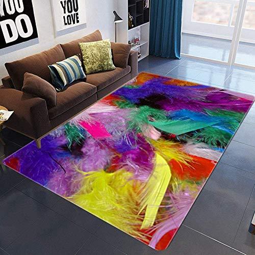 PHhomedecor Alfombra, Esponjosa Y Lavable, Impresión 3D Plumas Multicolores, para Dormitorio, Sala De Estar, Habitación Infantil.Inicio Arte Decoración De Imagen De Moda Rug,140(H) X200(W) Cm