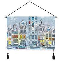 MISCERY タペストリー、クリスマスアムステルダムの運河のクリスマスプリント、壁掛けタペストリー壁画 壁飾り 家 リビングルーム ベッドルーム 部屋 おしゃれ飾り モダンなアート
